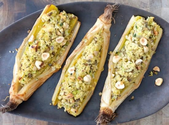 BAKED LEEK WITH MILLET, LENTIL AND HAZELNUTS