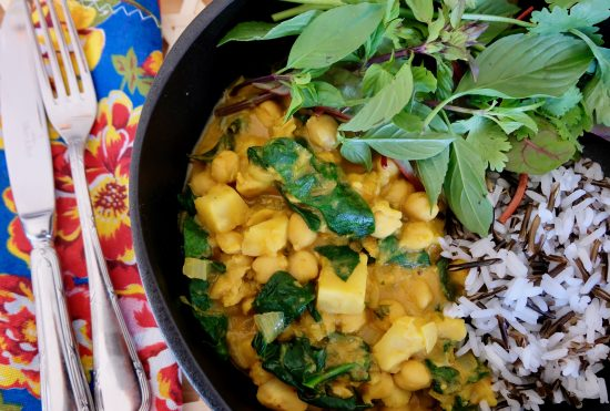 Celeriac Yellow Curry with Chickpeas