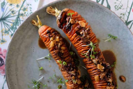 Hasselback Carrots and Cacao hazelnut Vinaigrette