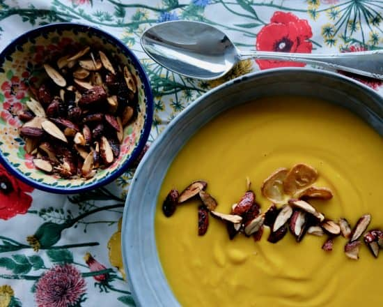 ROASTED GARLIC AND SWEET POTATO SOUP with sweet and salty almonds