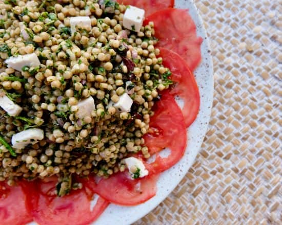 Tomato Carpaccio with Green Israeli Couscous