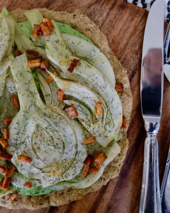 Quinoa Pizzas with Glazed Fennel and Fennel Cheezy Cream