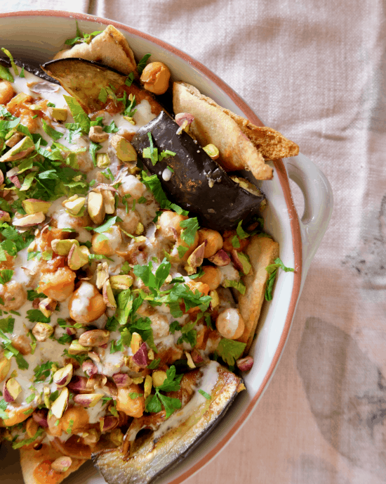 Fatteh Style Eggplants