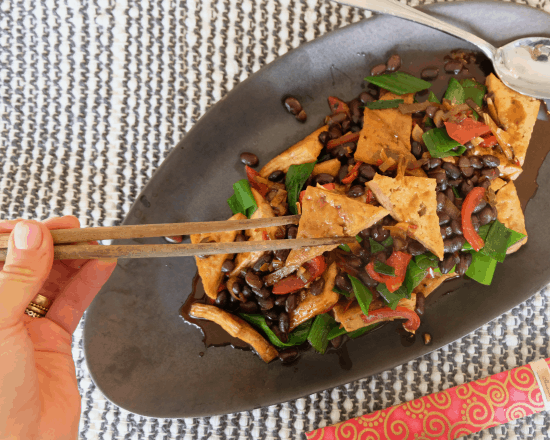 Chinese Tofu and Black Beans Stir-fry