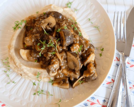 Mushroom and Lentil Ragout with Roasted Celeriac Mash