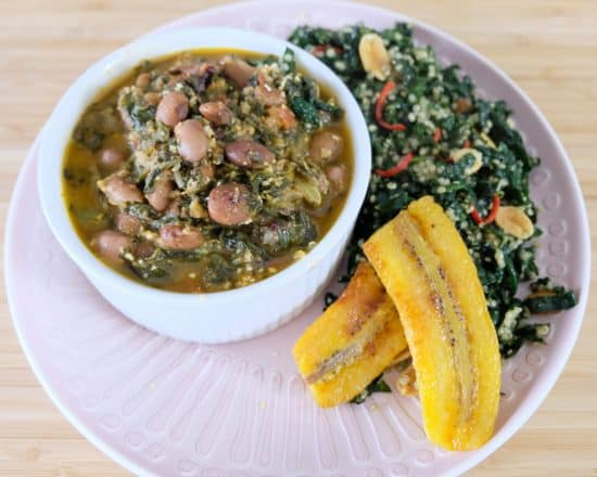 Ghana style Spinach and Butter Bean stew