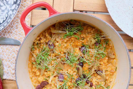 Creamy Tomato Barley Risotto