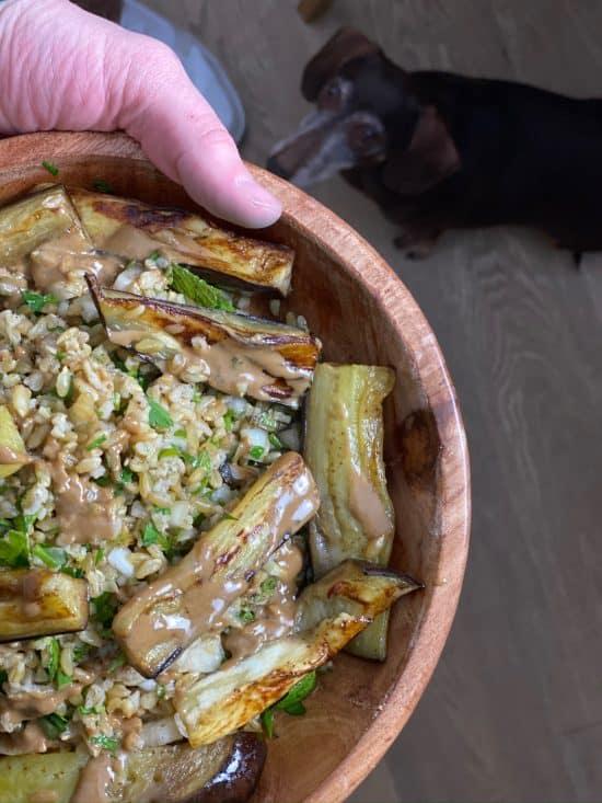 Freekeh and Eggplant Herbal Salad