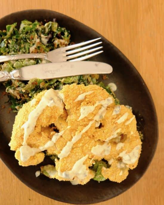 Crispy Cauliflower & Kale Caesar Salad