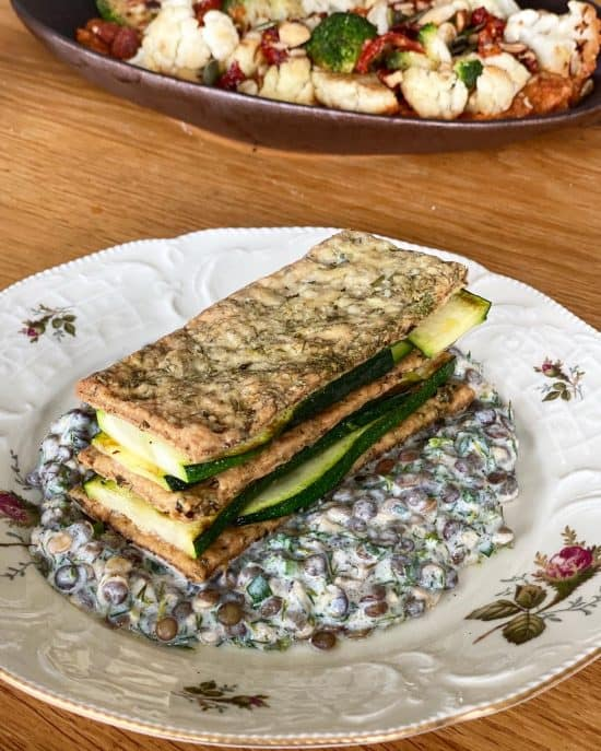 Zucchini Mille Feuille with Herbal creamy lentils